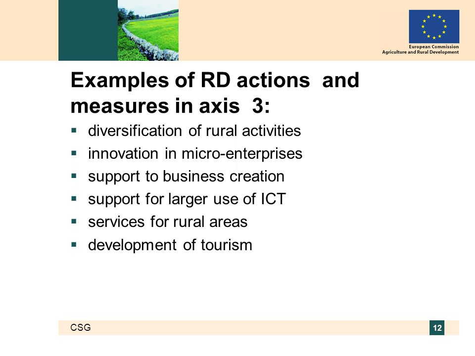 CSG 12 Examples of RD actions and measures in axis 3:  diversification of rural activities  innovation in micro-enterprises  support to business creation  support for larger use of ICT  services for rural areas  development of tourism