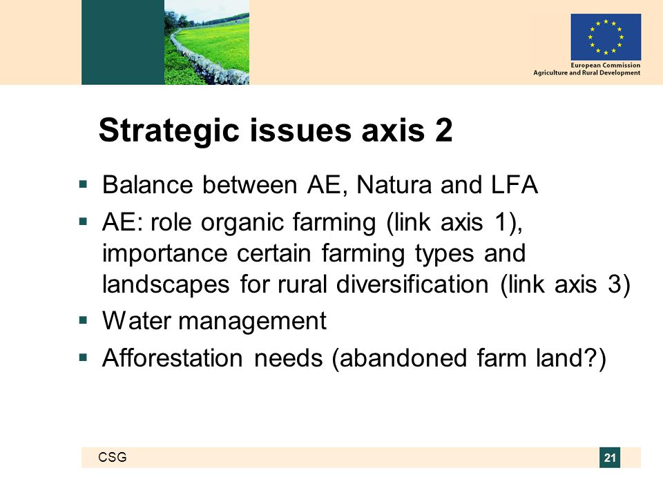 CSG 21 Strategic issues axis 2  Balance between AE, Natura and LFA  AE: role organic farming (link axis 1), importance certain farming types and landscapes for rural diversification (link axis 3)  Water management  Afforestation needs (abandoned farm land )