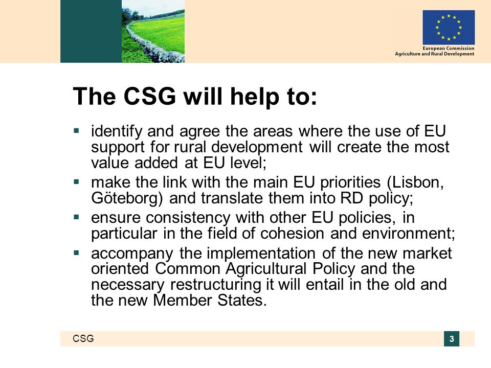 CSG 3 The CSG will help to:  identify and agree the areas where the use of EU support for rural development will create the most value added at EU level;  make the link with the main EU priorities (Lisbon, Göteborg) and translate them into RD policy;  ensure consistency with other EU policies, in particular in the field of cohesion and environment;  accompany the implementation of the new market oriented Common Agricultural Policy and the necessary restructuring it will entail in the old and the new Member States.