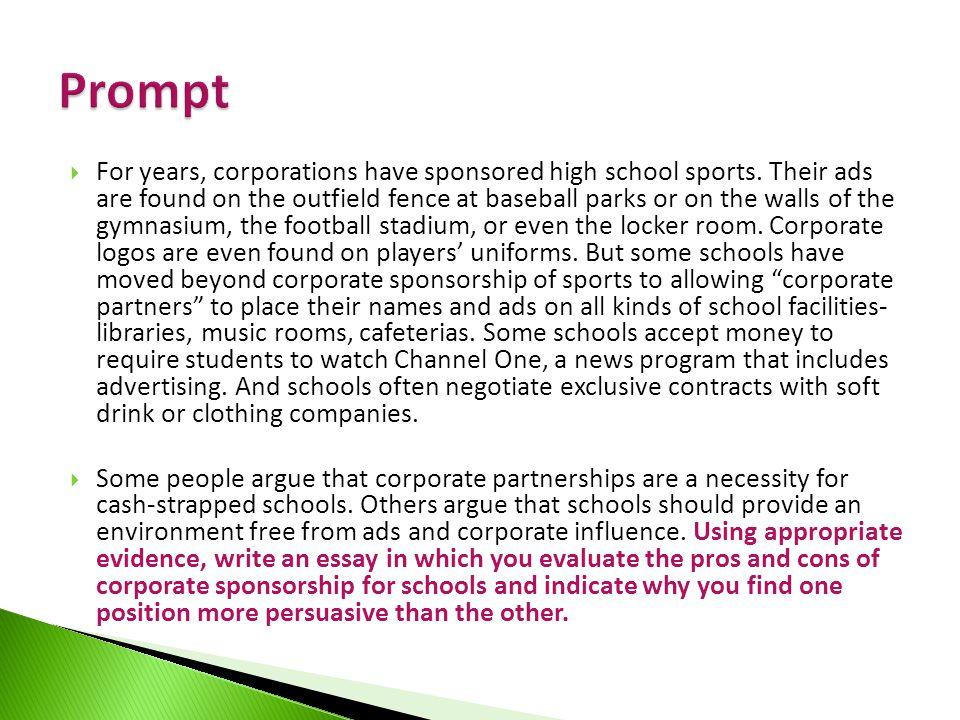 corporate sponsorships in schools essays