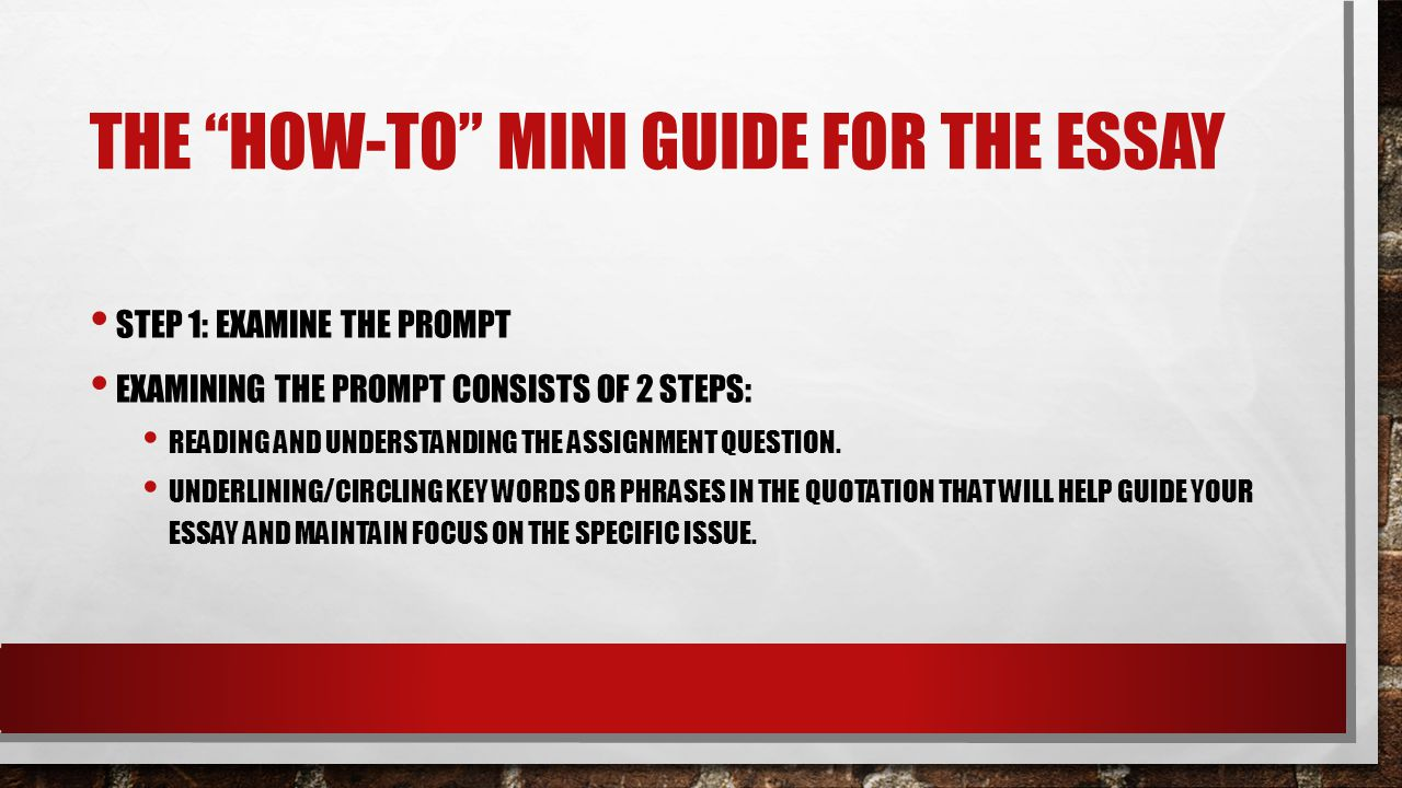 THE HOW-TO MINI GUIDE FOR THE ESSAY STEP 1: EXAMINE THE PROMPT EXAMINING THE PROMPT CONSISTS OF 2 STEPS: READING AND UNDERSTANDING THE ASSIGNMENT QUESTION.