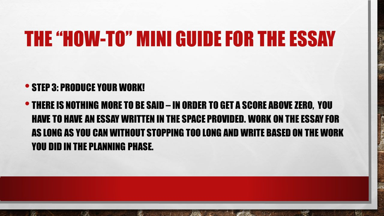 THE HOW-TO MINI GUIDE FOR THE ESSAY STEP 3: PRODUCE YOUR WORK.