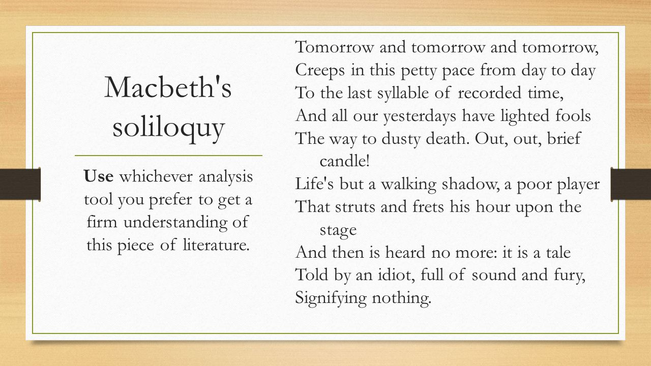 The Sound And Fury Second Semester Week One Ppt Download Macbeth Tomorrow Soliloquy Literary Analysis Analysi