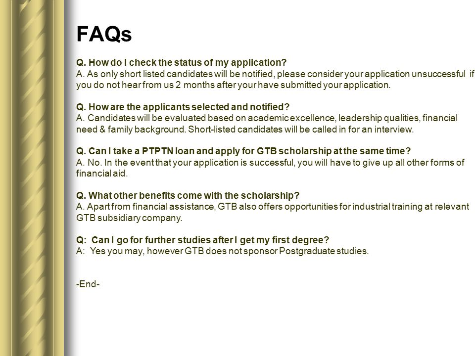 Q. How do I check the status of my application. A.