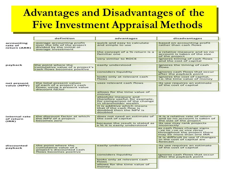 investment appraisal methods advantages and disadvantages