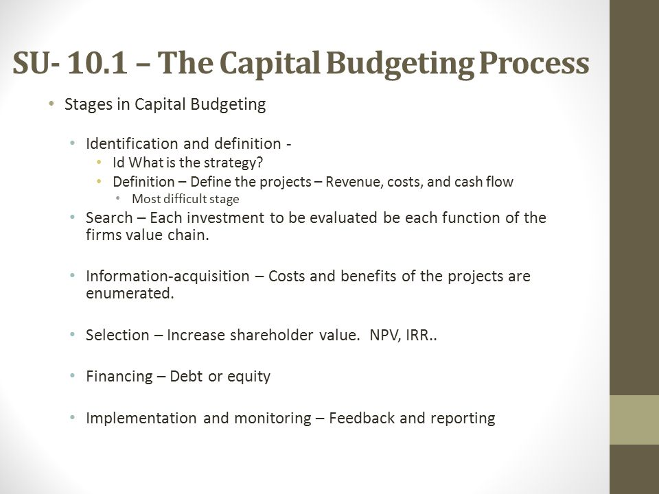 SU – The Capital Budgeting Process Stages in Capital Budgeting Identification and definition - Id What is the strategy.