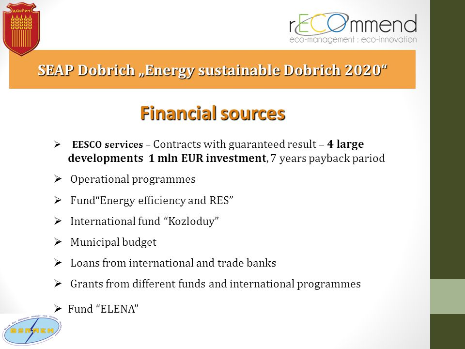 "Financial sources SEAP Dobrich ""Energy sustainable Dobrich 2020  EESCO services – Contracts with guaranteed result – 4 large developments 1 mln EUR investment, 7 years payback pariod  Operational programmes  Fund Energy efficiency and RES  International fund Kozloduy  Municipal budget  Loans from international and trade banks  Grants from different funds and international programmes  Fund ELENA"