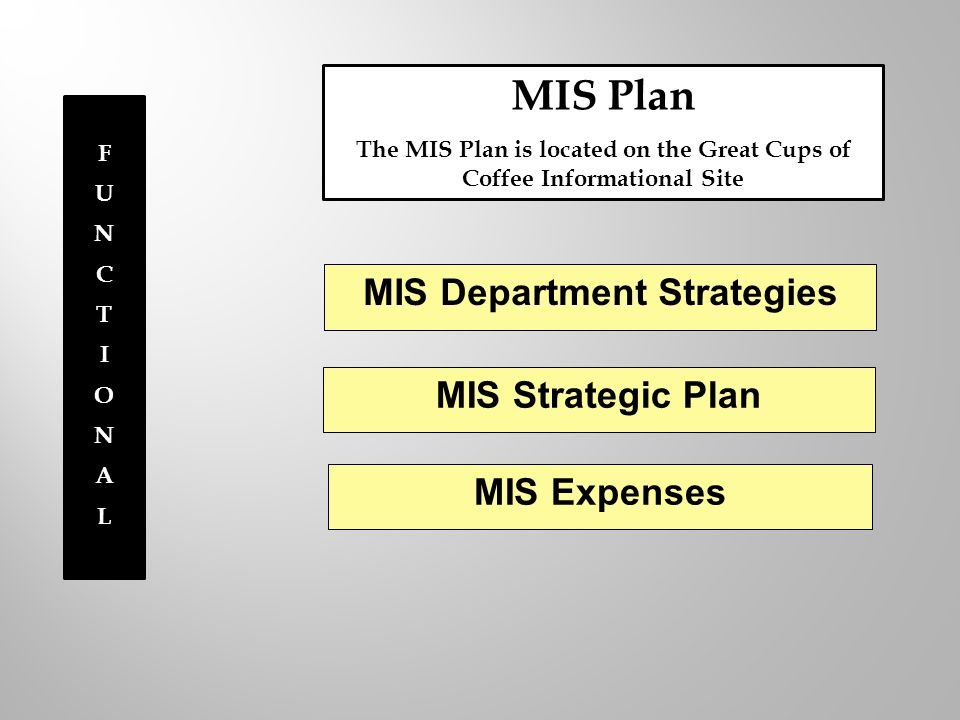 FUNCTIONALFUNCTIONAL MIS Plan The MIS Plan is located on the Great Cups of Coffee Informational Site MIS Department Strategies MIS Strategic Plan MIS Expenses