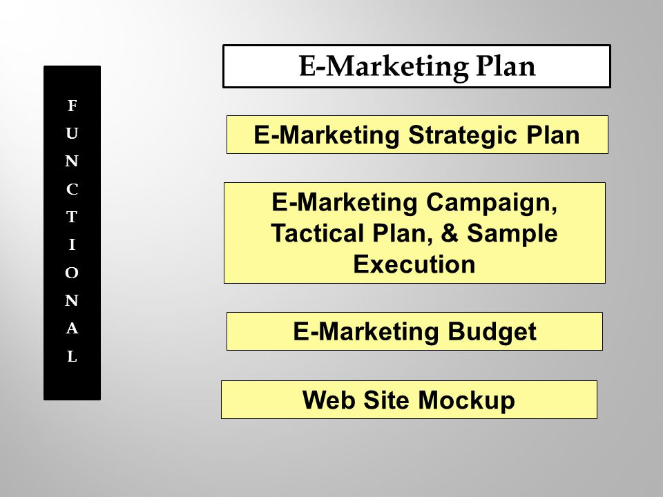 FUNCTIONALFUNCTIONAL E-Marketing Plan E-Marketing Strategic Plan E-Marketing Campaign, Tactical Plan, & Sample Execution E-Marketing Budget Web Site Mockup