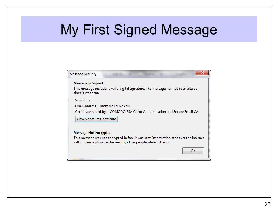 My First Signed Message 23