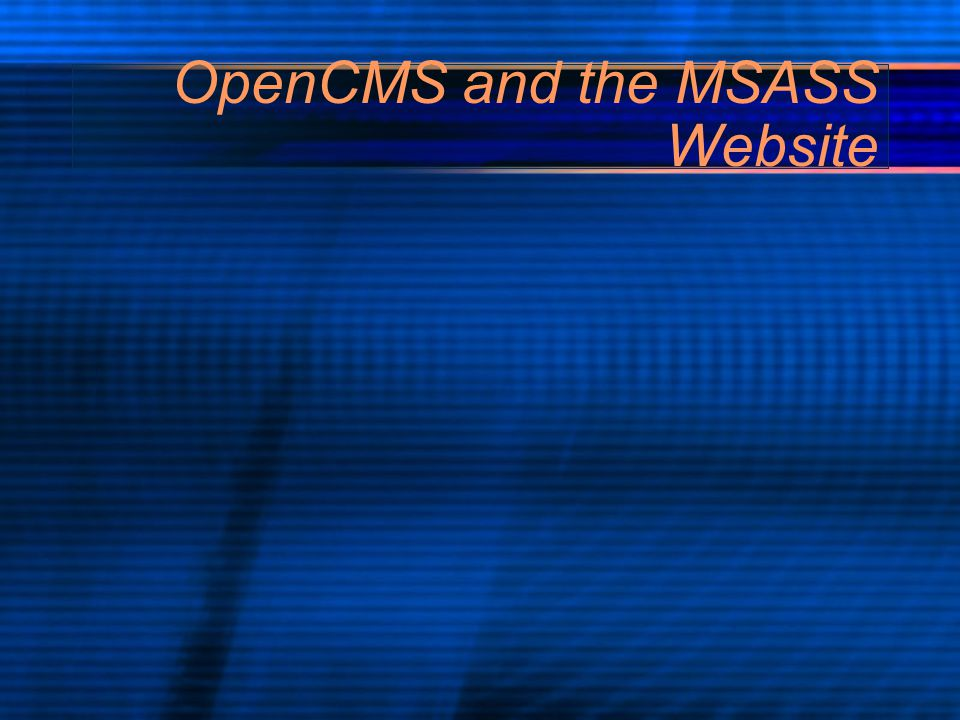 OpenCMS and the MSASS Website