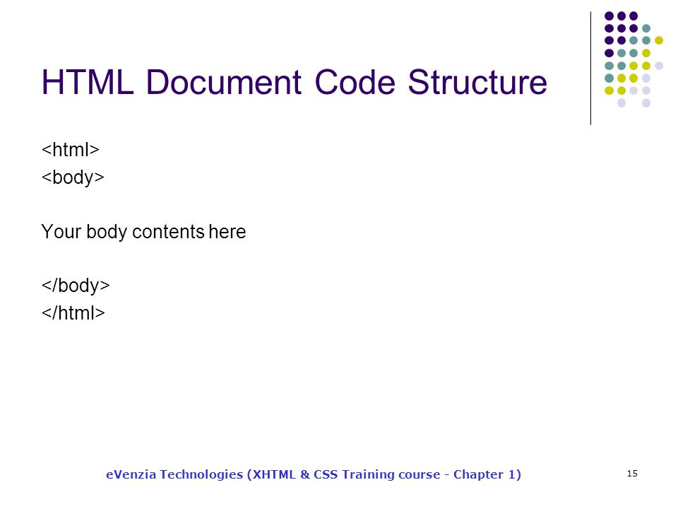 eVenzia Technologies (XHTML & CSS Training course - Chapter 1) 15 HTML Document Code Structure Your body contents here