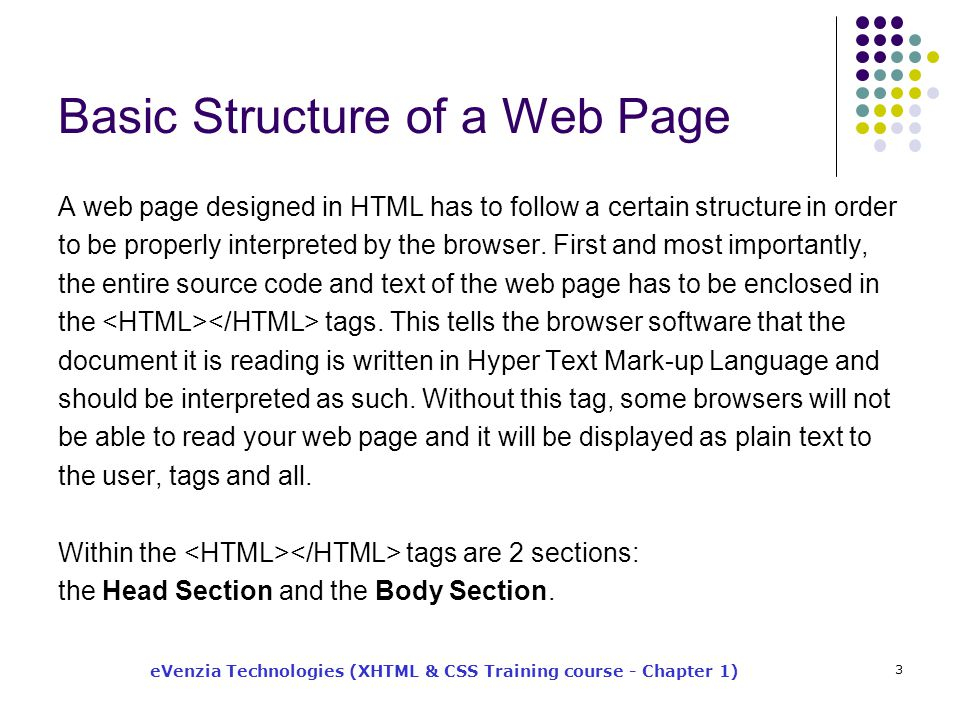 eVenzia Technologies (XHTML & CSS Training course - Chapter 1) 3 Basic Structure of a Web Page A web page designed in HTML has to follow a certain structure in order to be properly interpreted by the browser.