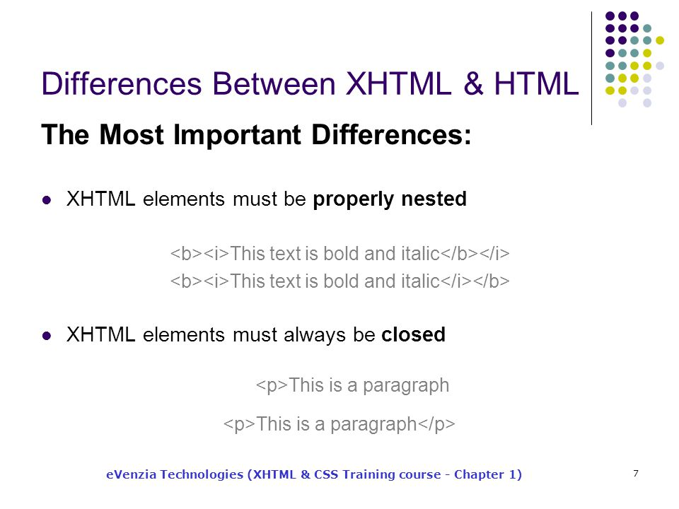 eVenzia Technologies (XHTML & CSS Training course - Chapter 1) 7 Differences Between XHTML & HTML The Most Important Differences: XHTML elements must be properly nested This text is bold and italic XHTML elements must always be closed This is a paragraph