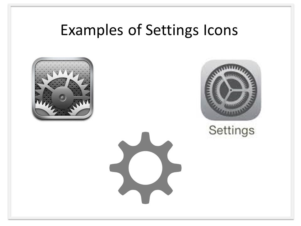 Examples of Settings Icons