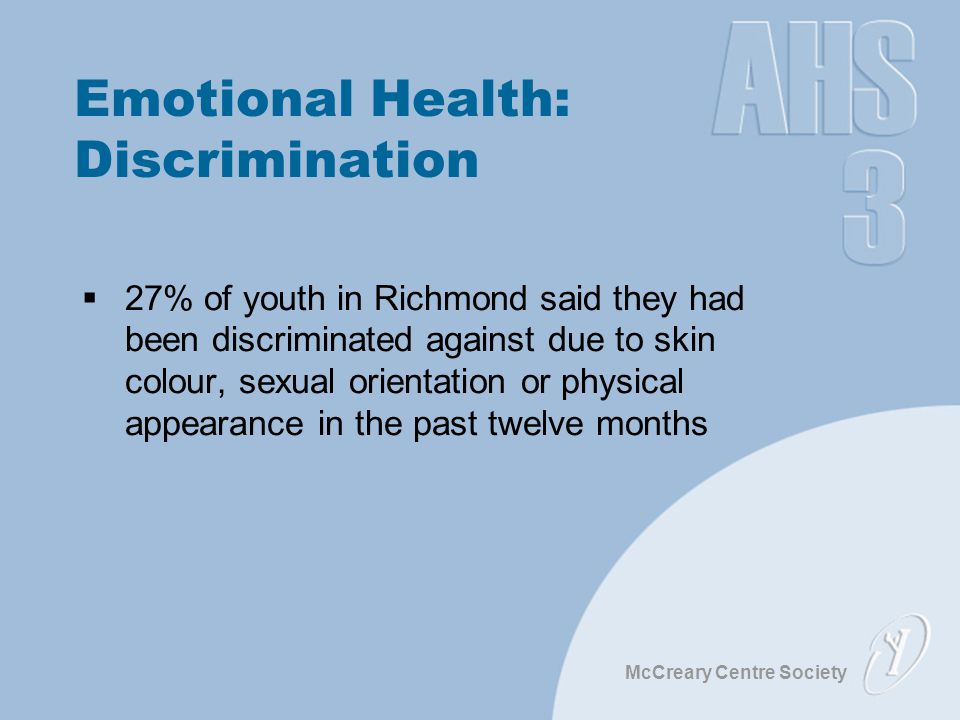 McCreary Centre Society Emotional Health: Discrimination  27% of youth in Richmond said they had been discriminated against due to skin colour, sexual orientation or physical appearance in the past twelve months