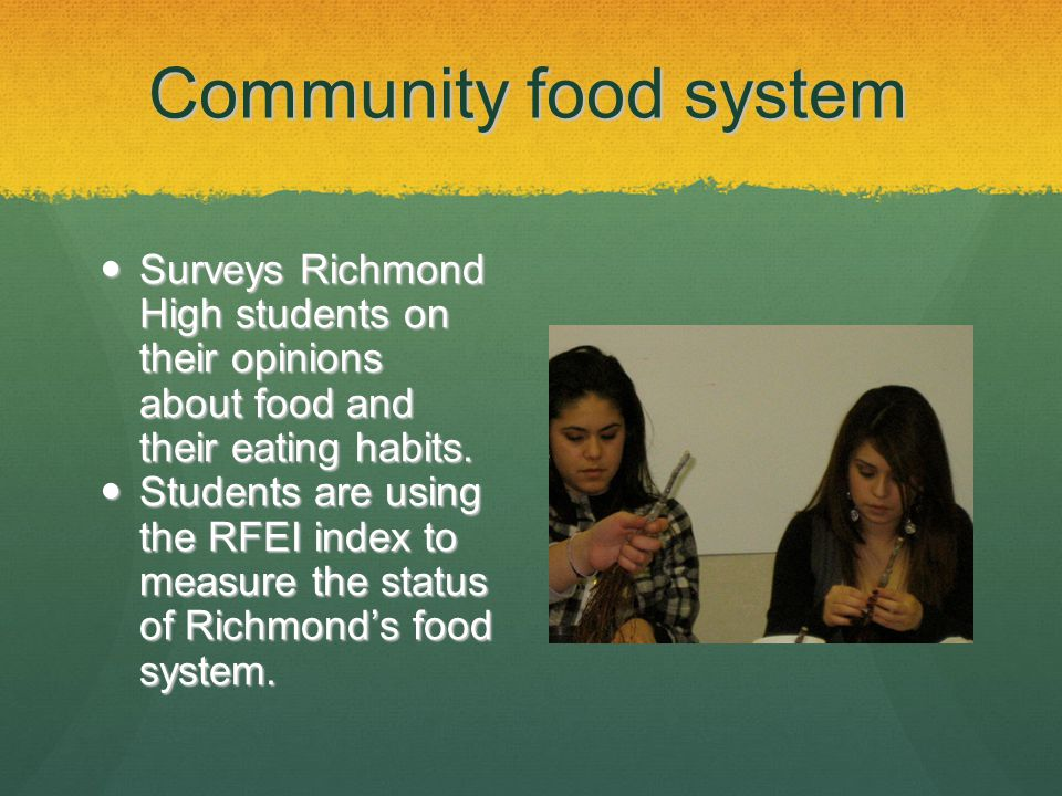 Community food system Surveys Richmond High students on their opinions about food and their eating habits.