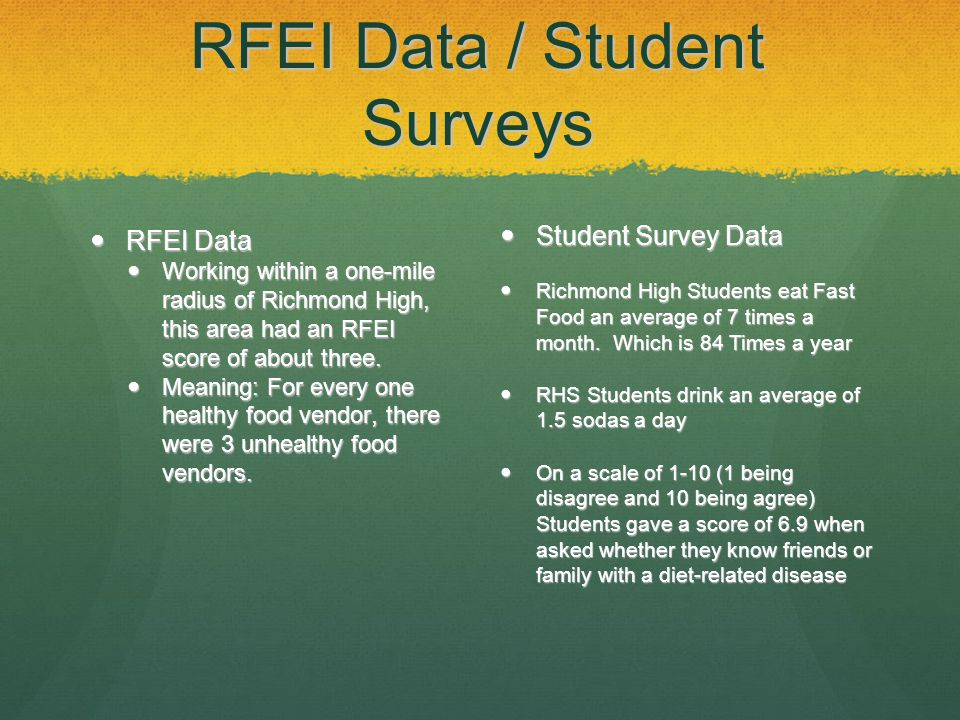 RFEI Data / Student Surveys RFEI Data RFEI Data Working within a one-mile radius of Richmond High, this area had an RFEI score of about three.