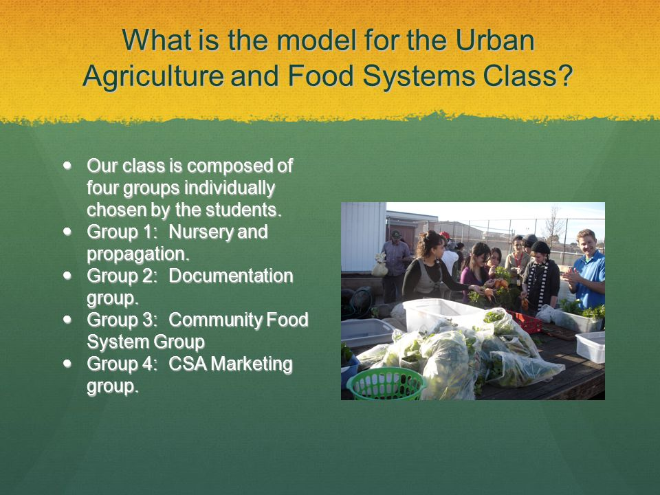 What is the model for the Urban Agriculture and Food Systems Class.