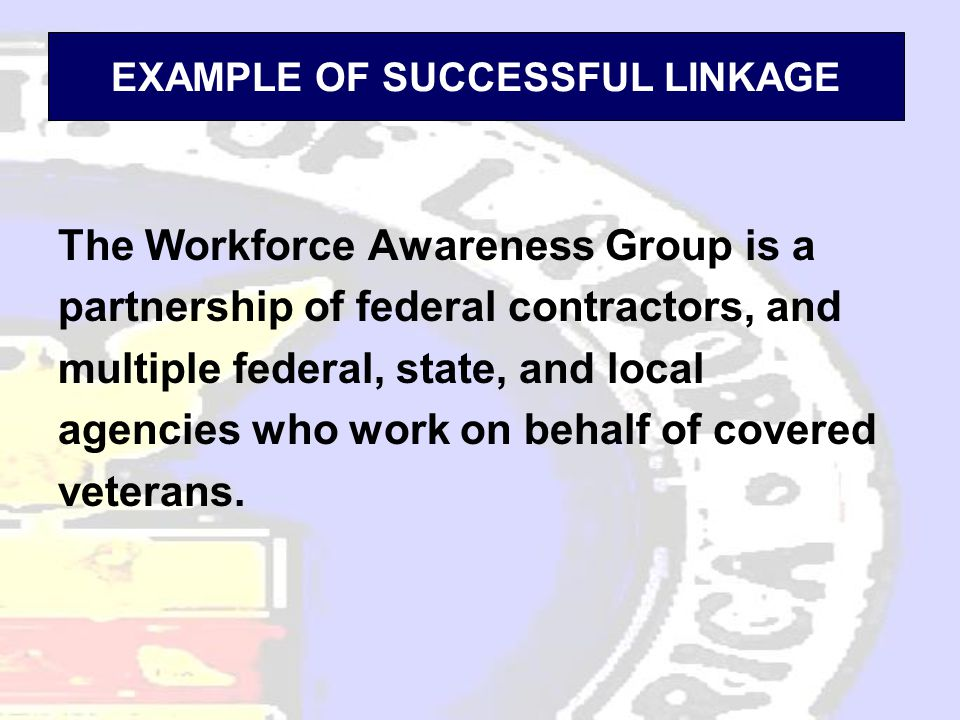 EXAMPLE OF SUCCESSFUL LINKAGE The Workforce Awareness Group is a partnership of federal contractors, and multiple federal, state, and local agencies who work on behalf of covered veterans.