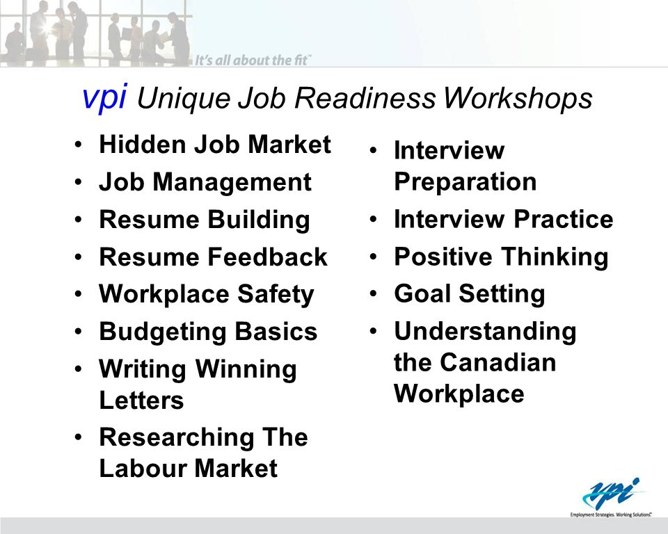 vpi Unique Job Readiness Workshops Hidden Job Market Job Management Resume Building Resume Feedback Workplace Safety Budgeting Basics Writing Winning Letters Researching The Labour Market Interview Preparation Interview Practice Positive Thinking Goal Setting Understanding the Canadian Workplace