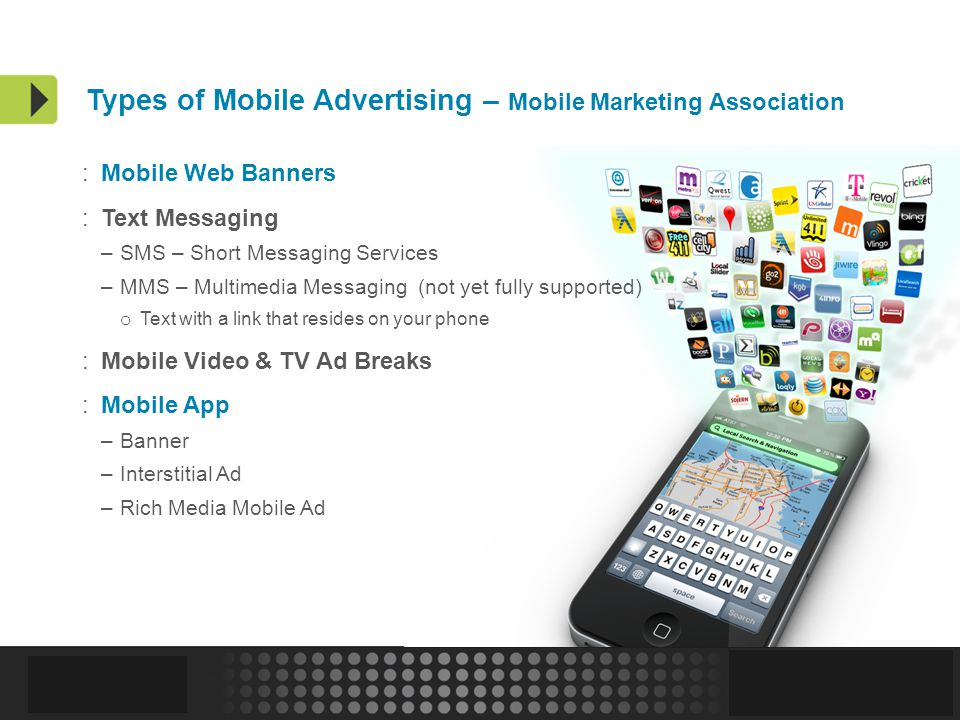 Confidential and Proprietary | 13 Types of Mobile Advertising – Mobile Marketing Association :Mobile Web Banners :Text Messaging –SMS – Short Messaging Services –MMS – Multimedia Messaging (not yet fully supported) o Text with a link that resides on your phone :Mobile Video & TV Ad Breaks :Mobile App –Banner –Interstitial Ad –Rich Media Mobile Ad