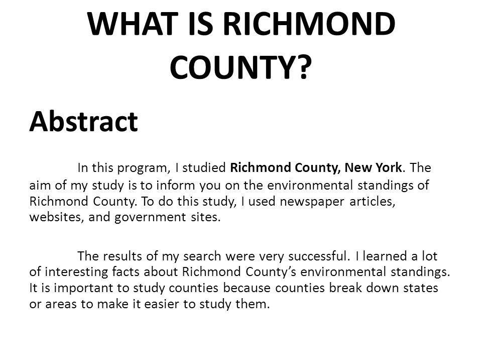 RICHMOND COUNTY, NEW YORK  AN ENVIRONMENTAL HEALTH DIAGNOSIS