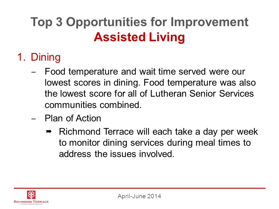 Top 3 Opportunities for Improvement Assisted Living 1.Dining ‒ Food temperature and wait time served were our lowest scores in dining.