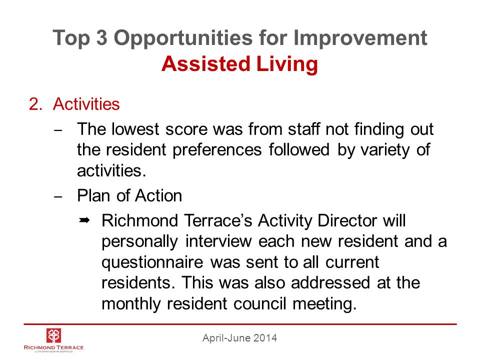Top 3 Opportunities for Improvement Assisted Living 2.Activities ‒ The lowest score was from staff not finding out the resident preferences followed by variety of activities.