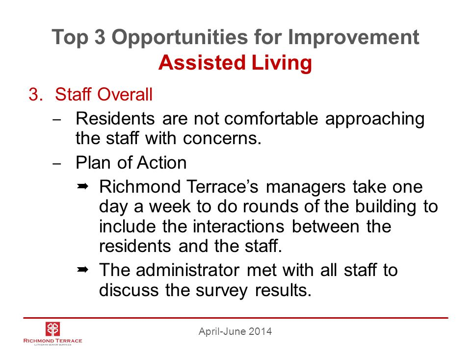 Top 3 Opportunities for Improvement Assisted Living 3.Staff Overall ‒ Residents are not comfortable approaching the staff with concerns.