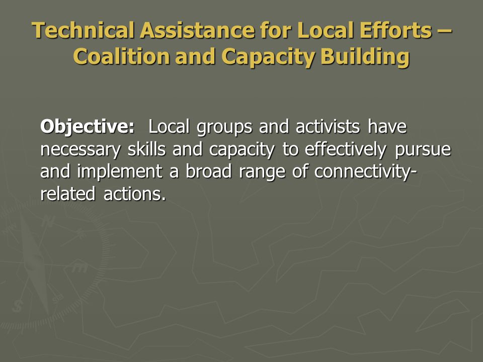 Technical Assistance for Local Efforts – Coalition and Capacity Building Objective: Local groups and activists have necessary skills and capacity to effectively pursue and implement a broad range of connectivity- related actions.