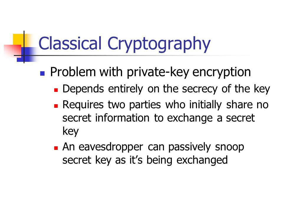 Classical Cryptography Problem with private-key encryption Depends entirely on the secrecy of the key Requires two parties who initially share no secret information to exchange a secret key An eavesdropper can passively snoop secret key as it's being exchanged