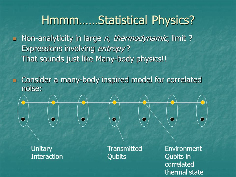 Hmmm……Statistical Physics. Non-analyticity in large n, thermodynamic, limit .
