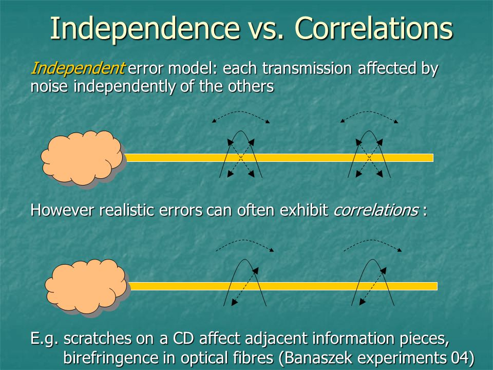 Independence vs. Correlations However realistic errors can often exhibit correlations : E.g.