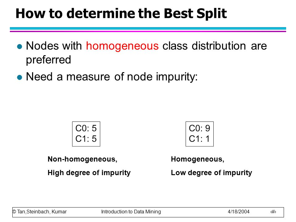 © Tan,Steinbach, Kumar Introduction to Data Mining 4/18/2004 23 How to determine the Best Split l Nodes with homogeneous class distribution are preferred l Need a measure of node impurity: Non-homogeneous, High degree of impurity Homogeneous, Low degree of impurity