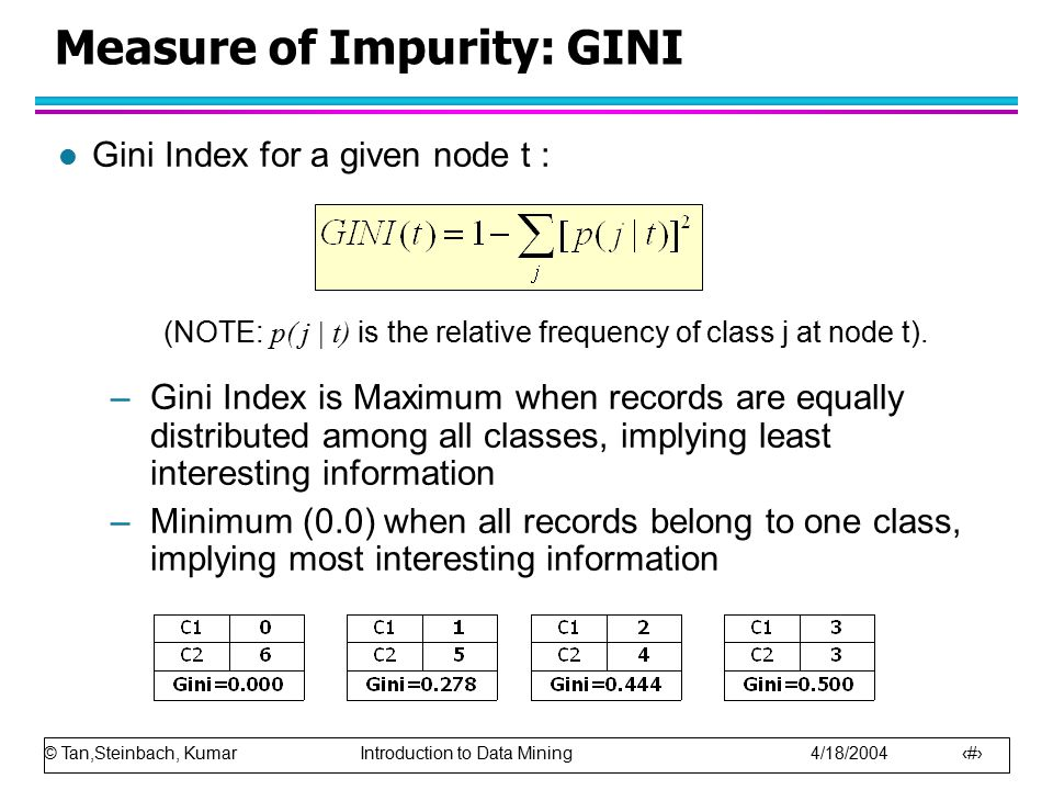 © Tan,Steinbach, Kumar Introduction to Data Mining 4/18/2004 25 Measure of Impurity: GINI l Gini Index for a given node t : (NOTE: p( j | t) is the relative frequency of class j at node t).