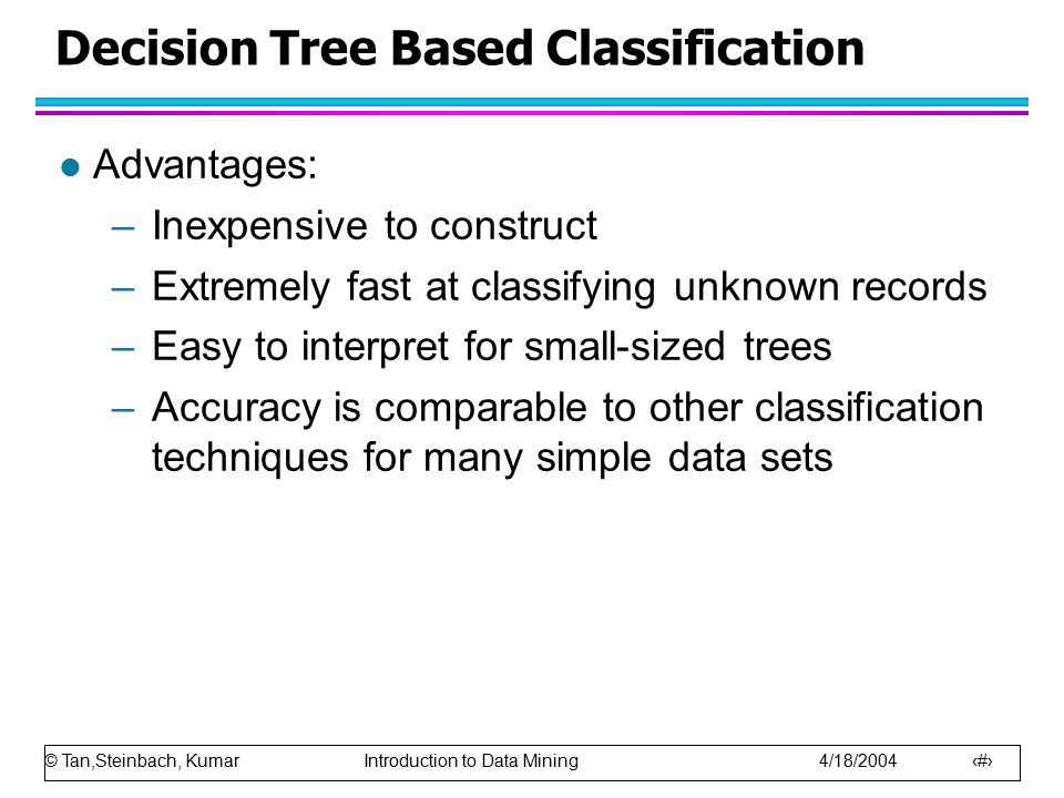 © Tan,Steinbach, Kumar Introduction to Data Mining 4/18/2004 30 Decision Tree Based Classification l Advantages: –Inexpensive to construct –Extremely fast at classifying unknown records –Easy to interpret for small-sized trees –Accuracy is comparable to other classification techniques for many simple data sets
