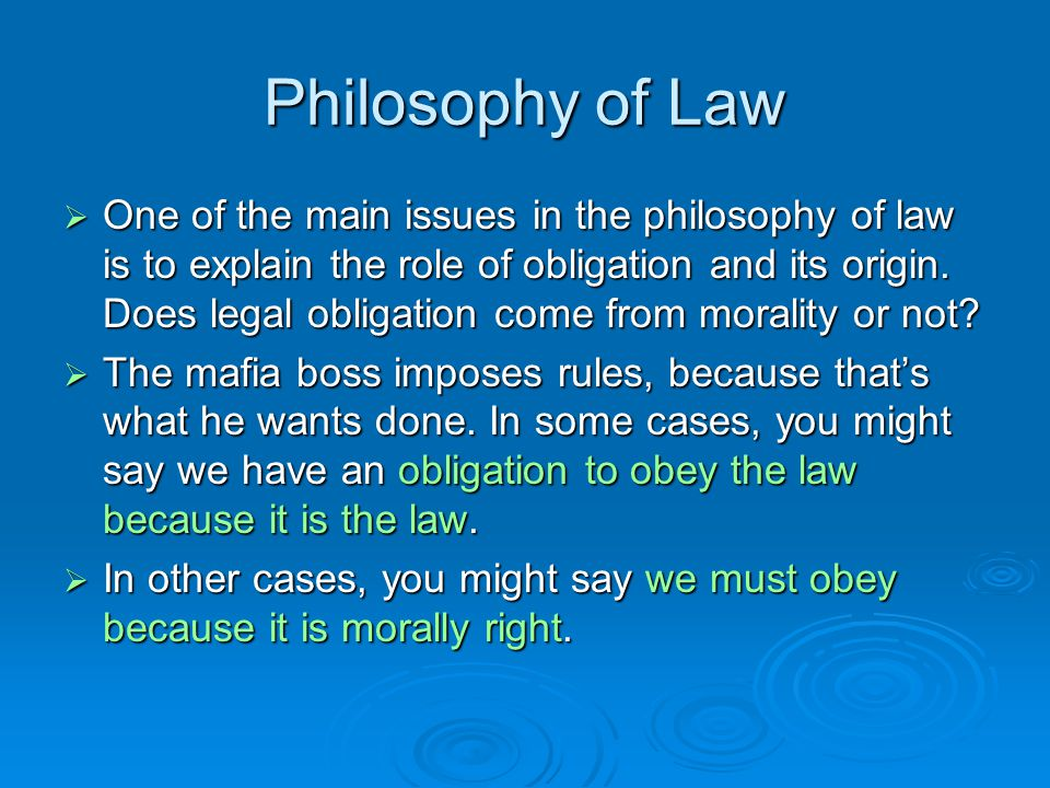 Philosophy of Law  One of the main issues in the philosophy of law is to explain the role of obligation and its origin.