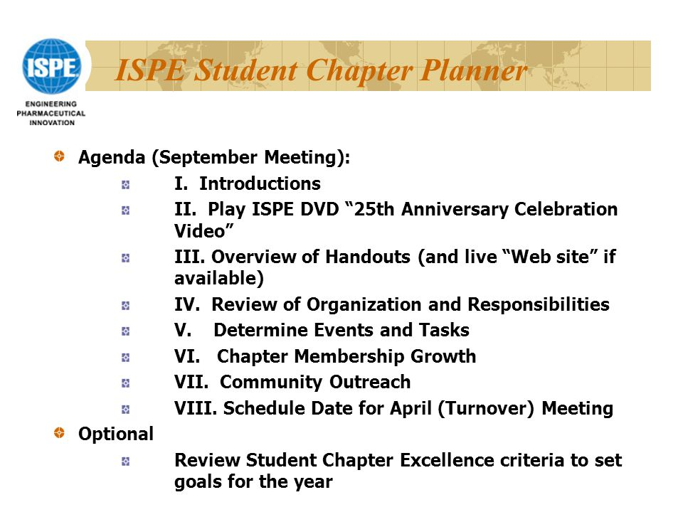 ISPE Student Chapter Planner Agenda (September Meeting): I.