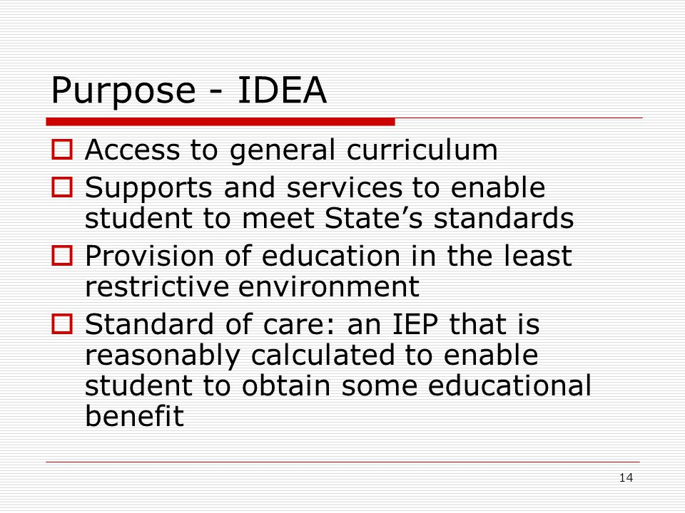 Purpose - IDEA  Access to general curriculum  Supports and services to enable student to meet State's standards  Provision of education in the least restrictive environment  Standard of care: an IEP that is reasonably calculated to enable student to obtain some educational benefit 14