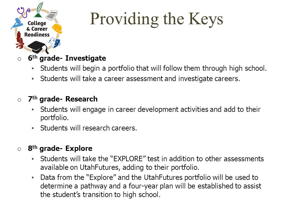 Providing the Keys o 6 th grade- Investigate Students will begin a portfolio that will follow them through high school.