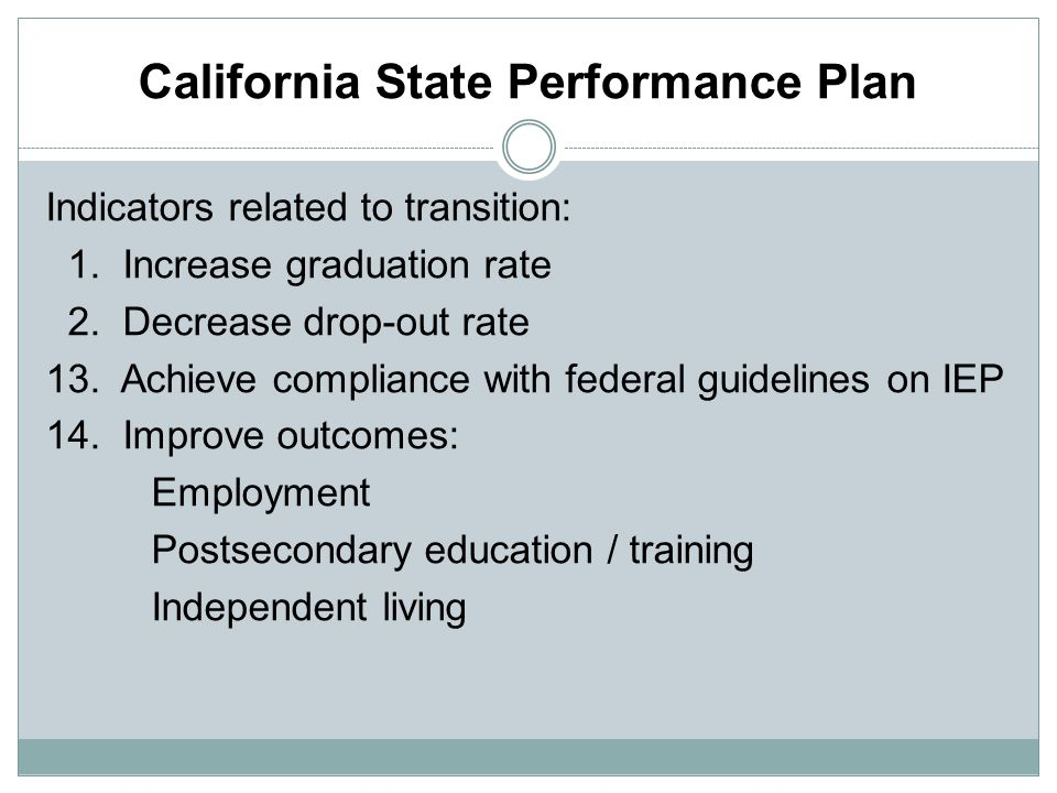 California State Performance Plan Indicators related to transition: 1.