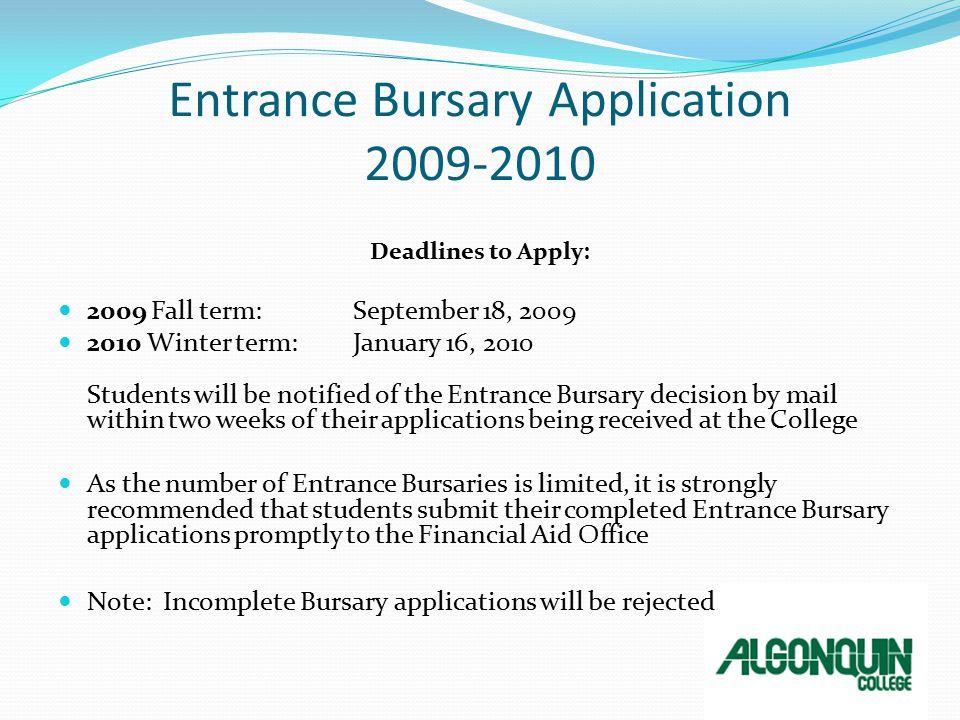 4 Entrance Bursary Application 2009 2010