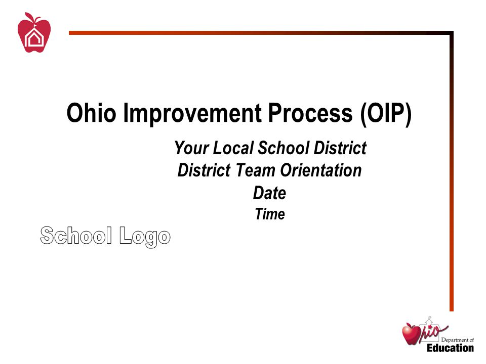Ohio Improvement Process (OIP) Your Local School District District Team Orientation Date Time