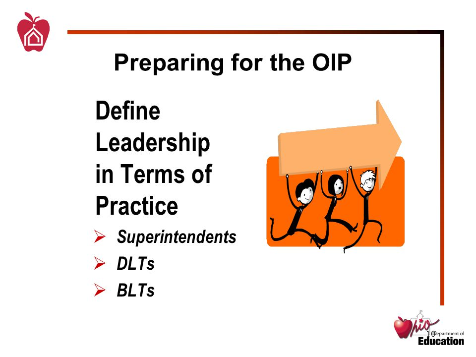 10 Preparing for the OIP Define Leadership in Terms of Practice  Superintendents  DLTs  BLTs