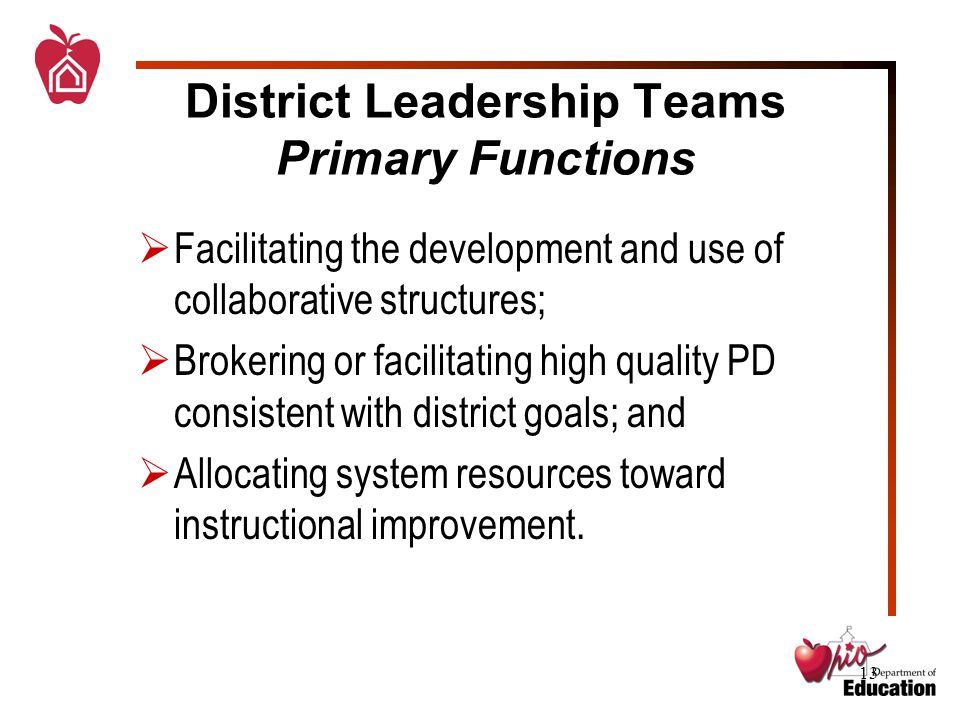 13  Facilitating the development and use of collaborative structures;  Brokering or facilitating high quality PD consistent with district goals; and  Allocating system resources toward instructional improvement.