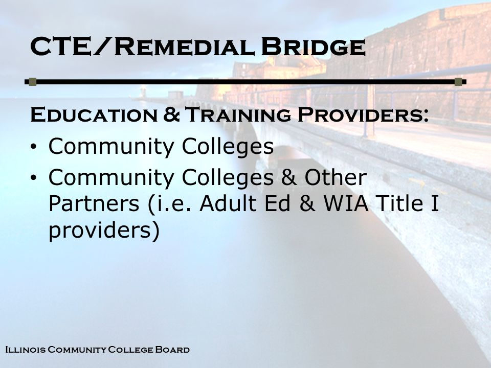 Illinois Community College Board CTE/Remedial Bridge Education & Training Providers: Community Colleges Community Colleges & Other Partners (i.e.