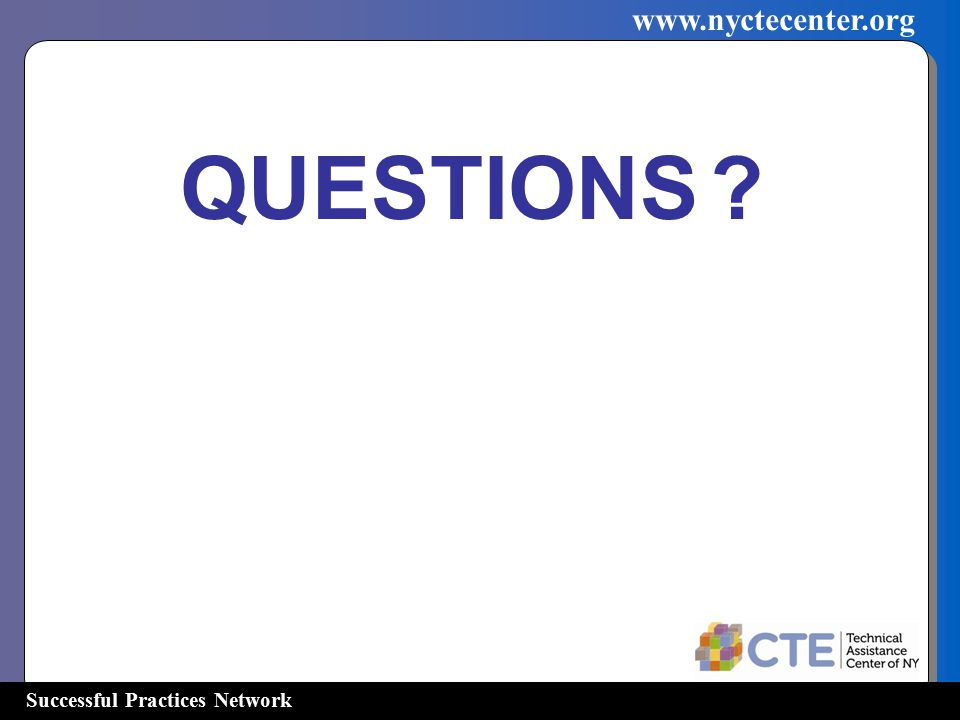 Successful Practices Network   QUESTIONS