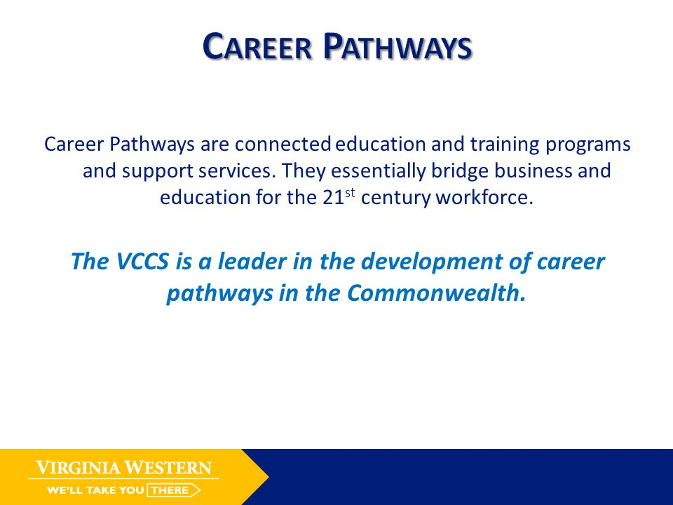 Career Pathways are connected education and training programs and support services.