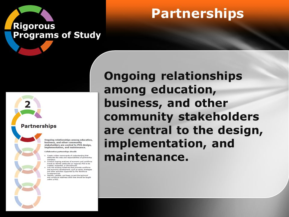 Partnerships Ongoing relationships among education, business, and other community stakeholders are central to the design, implementation, and maintenance.